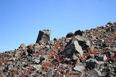 こんな感じのところを登っていく・・・この岩は千トン岩というらしい?足場悪く、空気薄いので息も切れる