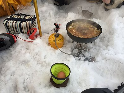 美味そうなすき焼き~山で食べるから格別