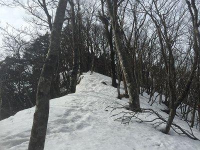 薊岳への稜線歩きは結構雪庇がはってるところがあった