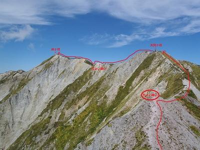 槍ヶ峰からのルートはこんな感じですが、縦走路と違って危険なところがほとんどありませんでした