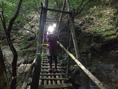 樹林帯の中は暗いのでヘッドライト装備。橋を渡ってまたあのキツイ尾根を登っていくのかと思ったが、沢筋のルートでいくことになった