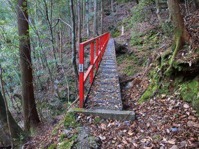 こういう橋が続くんだけど、渡るのは結構揺れるし、なんとなくもろそうで怖い