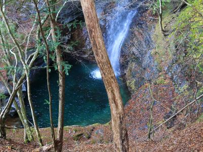 高滝の上にも滝があった。滝壺の水が美しい