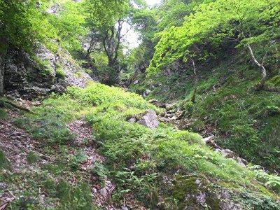 大日キレットのコル部の谷をどんどんつめていく