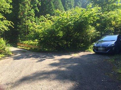 白倉林道の橋の手前。ここで駐車してスタート