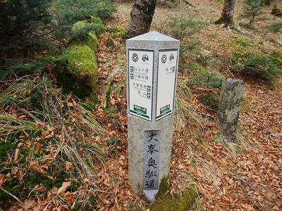 ここから山上ヶ岳まで3kmで大普賢岳まで1.9kmなのね。大普賢岳までは行けそうな感じはしたけど、ここで終わり。