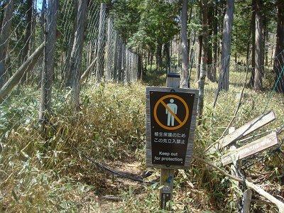 立入禁止看板があるが、入山禁止は強制でなく希望とのことです