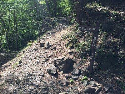登りの林道を歩くこと1時間で七面山の登山口に到着