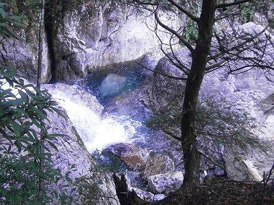 一の滝上部の滝つぼ