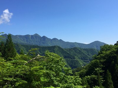 ある場所で大普賢岳と和佐又山が綺麗な形で望めるところがあった