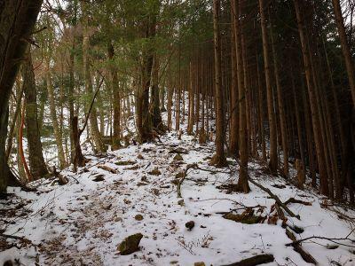 雪が少ないとはいえ、かなり滑るので下山はアイゼンを装着して下ることにした